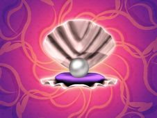 Free Pearl In Shell On Floral Background Royalty Free Stock Photography - 28087127