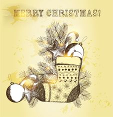 Free Christmas Greeting Vintage Card Royalty Free Stock Image - 28088256