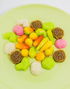 Free Various Colorful Thai Dessert On Green Plate Stock Photography - 28099012