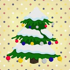 Free Christmas Tree On Colorful Polka Dot Royalty Free Stock Images - 28090389
