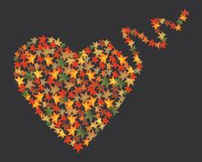 Free Autumn Leaves Heart, Vector Royalty Free Stock Photos - 28090988