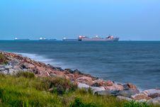 Cargo Ships At Anchor Royalty Free Stock Photo