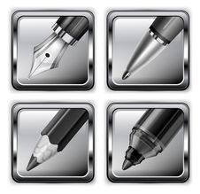 Free Square Pen Icons Stock Image - 28093401