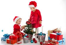 Free Two Happy Santa Helpers Stock Images - 28094074