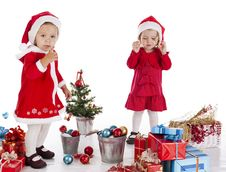 Free Two Happy Santa Helpers Stock Image - 28094091