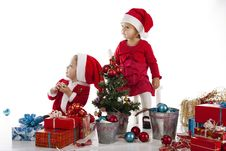 Free Two Happy Santa Helpers Royalty Free Stock Photo - 28094105