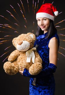 Free Snow Maiden Presents A Toy Bear Royalty Free Stock Images - 28095739