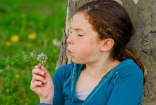 Free Young Girl Making A Wish. Royalty Free Stock Images - 28096509