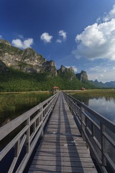 The Wooden Walk Way In A Lake Stock Photography
