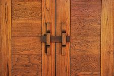 Free Thai Classic Wood Door Stock Image - 28097891
