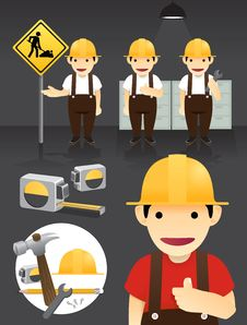 Characters.worker Set Vector Royalty Free Stock Images