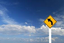 Direction Sign- Left Turn Warning Sign Stock Photography