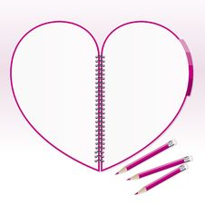 Free Heart Note Paper With Pencil Royalty Free Stock Photo - 28099175