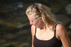Pretty Blonde By A River Stock Photography