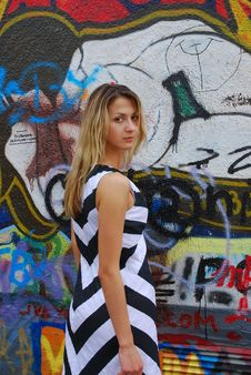 Free Blonde Girl And Graphity Wall Royalty Free Stock Photo - 2815725