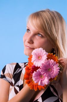 Free The Girl And Flowers Stock Image - 2816091