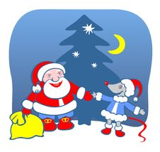 Free Santa Claus And Mouse Royalty Free Stock Photo - 2818065