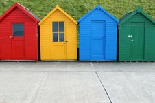 Free Four Beach Huts Royalty Free Stock Image - 2819156