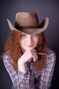 Free Portrait Of A Pretty Girl The Cowboy Stock Photography - 28104722