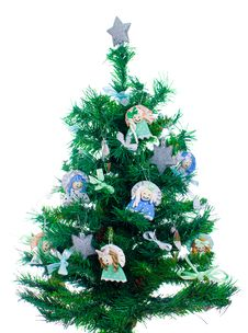 Free Little Xmas Tree With Handmade Decorations Stock Photos - 28105503