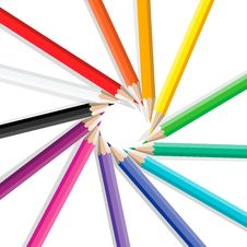 Free Color Pencils In A Circle Royalty Free Stock Image - 28107356