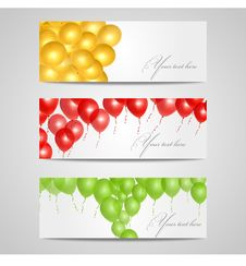 Free Vector Banners With Balloons Stock Photos - 28107783