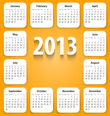 Calendar For 2013 On White Stickies Royalty Free Stock Photo