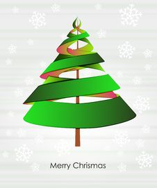 Green Triangle Tree Design With Snowfall Stock Images