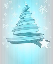 Free Cool Blue Christmas Tree Shape At Snowfall Stock Photos - 28113163