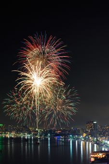 Firework At Pattaya City, Thailand Royalty Free Stock Images