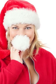 Joyful Pretty Woman In Red Santa Claus Hat Smiling Stock Photo