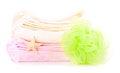 Free Two Towels, Bath Sponge And Starfish Stock Image - 28122721