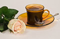Free A Cup Of Coffee And A Rose Stock Image - 28123131