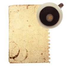 Old Note Paper With Coffee Cup Stock Photos