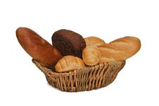 Free Bread Products In Basket Royalty Free Stock Photography - 28123147