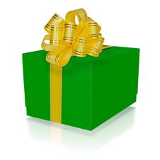 Free Green Gift Box With Gold Ribbon Stock Photography - 28123212