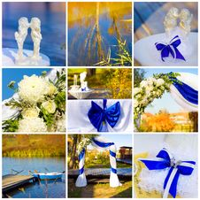 Free Wedding Collage In Blue Stock Images - 28123984