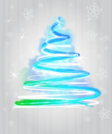 Light Blue Tree Flare Concept In Snowfall Stock Images