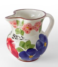 Decorated Ceramic Wine Jug Royalty Free Stock Image