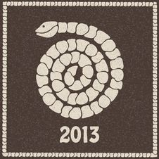 Vector Illustration Of 2013 New Year Snake Royalty Free Stock Photos