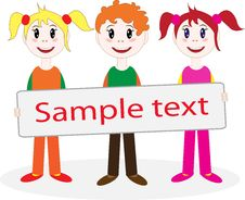 Free Children Hold Posters Royalty Free Stock Photography - 28129757