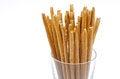 Free Bread Sticks With Salt In A Glass Beaker Stock Photo - 28134390