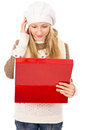 Free Girl Looks In A Gift Box And Wondering Stock Photos - 28138283