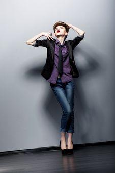 Free Pin Up Fashion Girl Posing In Studio. Glamor Royalty Free Stock Images - 28130419