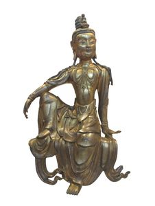 Japanese Sculpture Of Woman Isolated Royalty Free Stock Photo