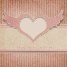Vintage Valentine S Day Background With Heart Stock Photography