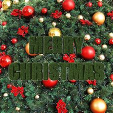 Free Merry Christmas, Decorative Christmas Tree Royalty Free Stock Photos - 28133668