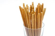 Free Bread Sticks With Salt In A Glass Beaker Stock Photo - 28134390
