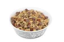 Free Homemade Granola With Chocolate Drops Isolated Stock Image - 28134581