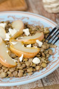 Lentil Salad With Caramelized Pears, Blue Cheese Stock Photography